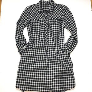 Madewell Black/white flannel shirt dress, XS